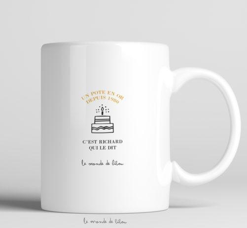Mug Anniversaire en Or