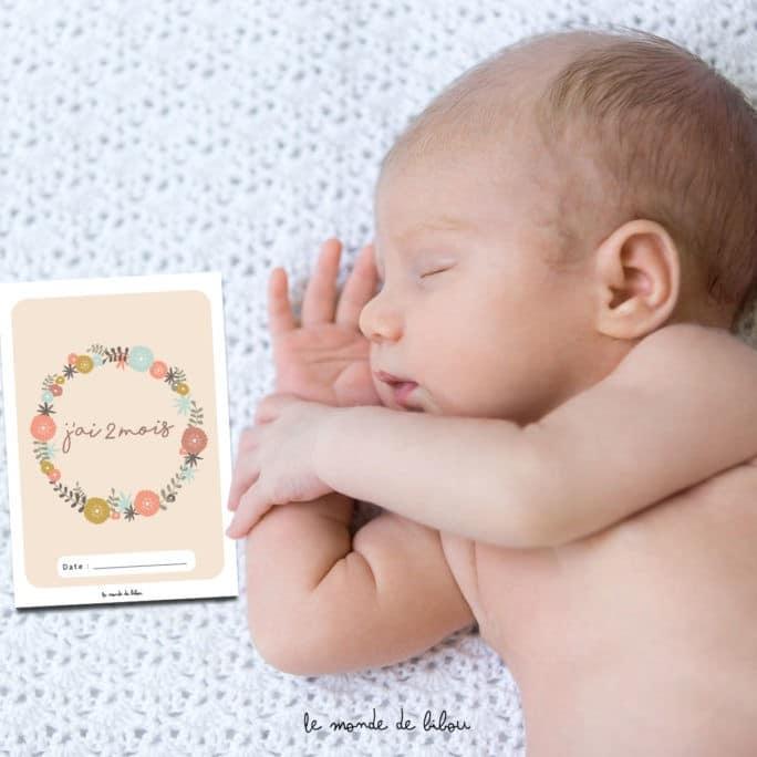 Cartes étapes bébé Couronne de fleurs