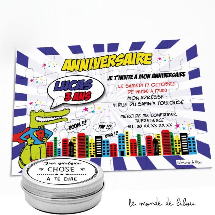 Puzzle invitation Anniversaire Croco