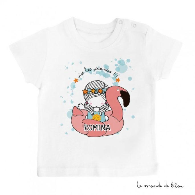 T-Shirt bébé bouée flamant rose