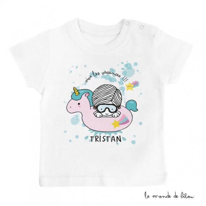 T-Shirt bébé bouée licorne garçon
