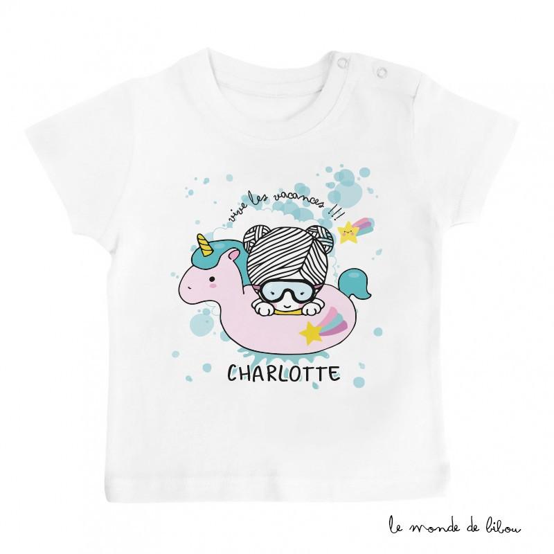 T-Shirt bébé bouée licorne fille