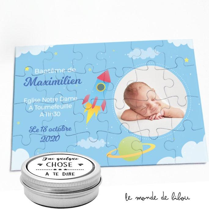 Lot de 5 Puzzles invitation Baptême garçon