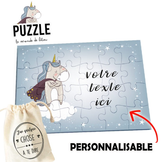 Puzzle personnalisable Licorne