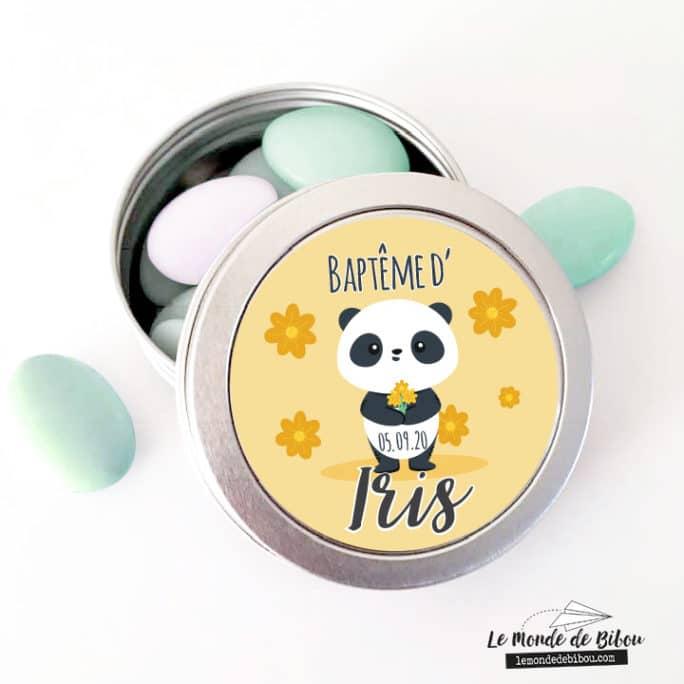 Boîte à dragées personnalisée panda