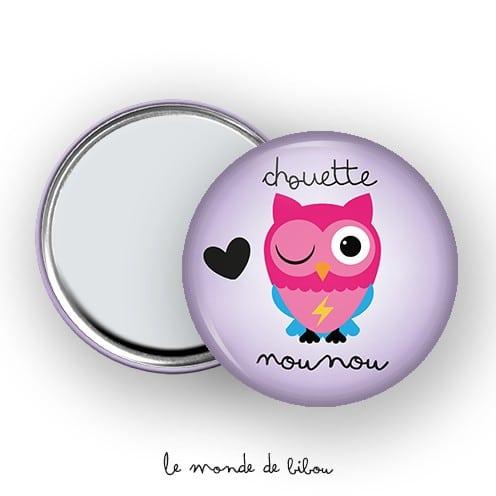Miroir de poche Chouette Nounou violet