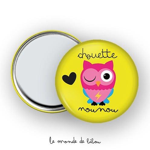 Miroir de poche Chouette Nounou jaune