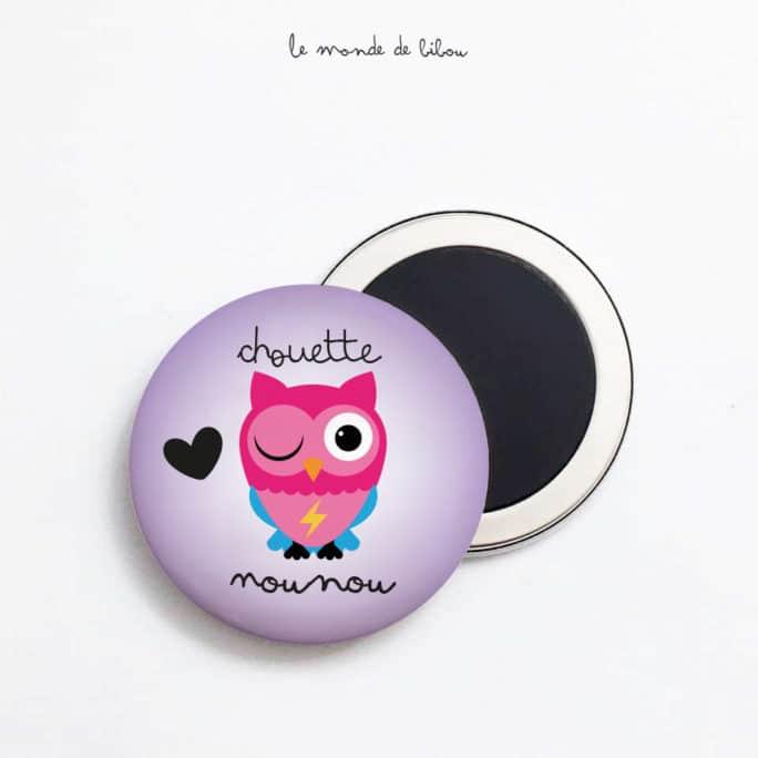 Magnet Chouette Nounou violet