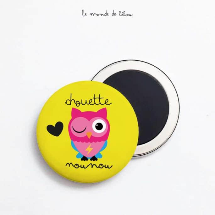 Magnet Chouette Nounou jaune