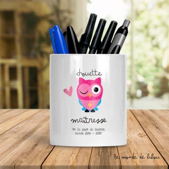Pot à crayons Chouette Maîtresse