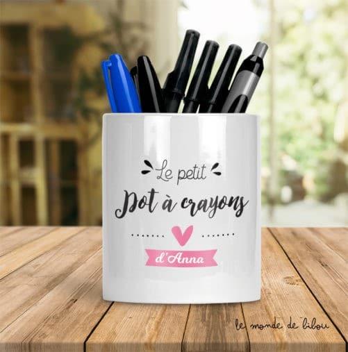 Pot à crayons enfant fille