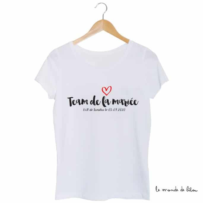 Tee-shirt Team de la mariée coeur