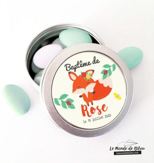 Boîte dragées Petite Renarde