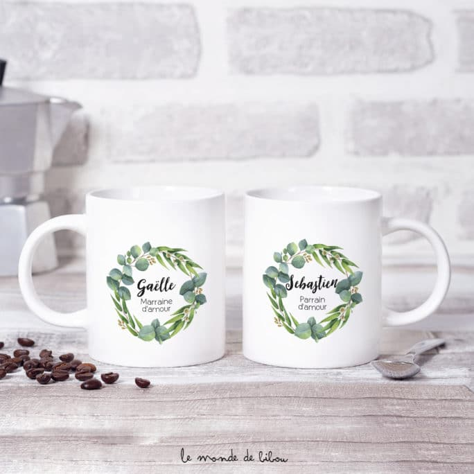 Duo Mugs Parrain Marraine Eucalyptus