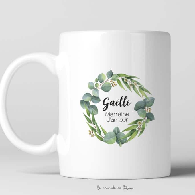 Mug personnalisable Marraine Eucalyptus