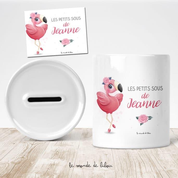 Tirelire personnalisée Flamant rose