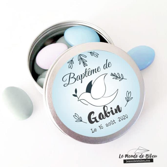 Boîte dragées Colombe bleue