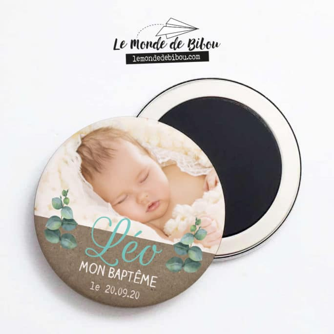 Lot de 10 magnets Baptême Eucalyptus