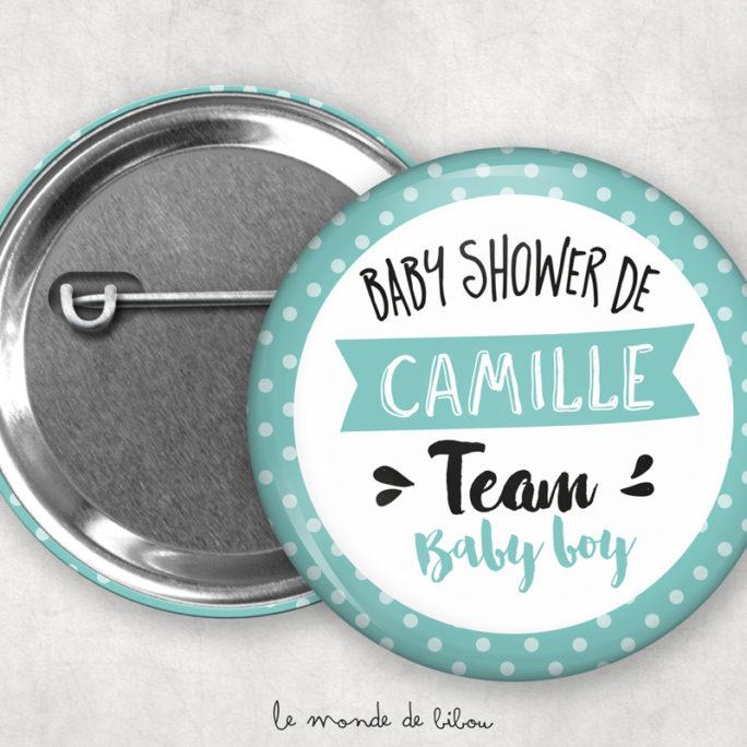 Badges Baby shower personnalisés Polka