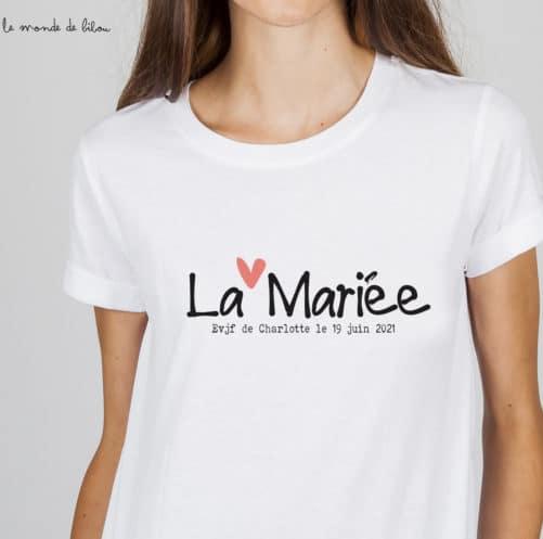T-shirt EVJF Future mariée Petit cœur