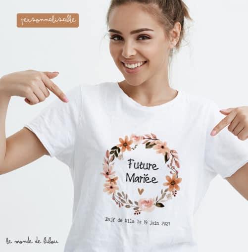 T-shirt Future mariée couronne terracotta
