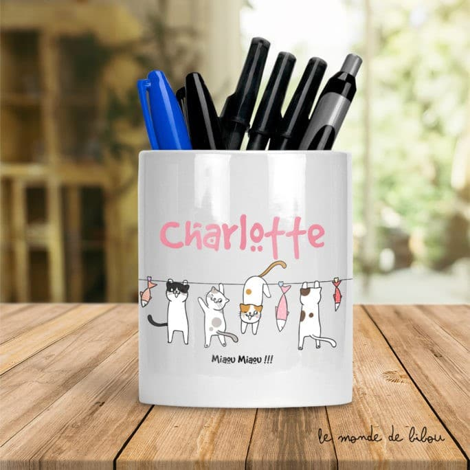 Pot à crayons Petits chats fille
