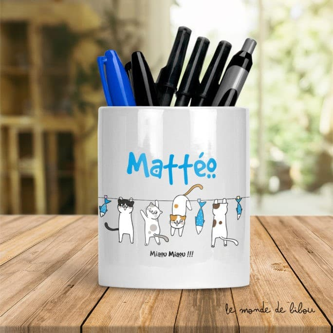 Pot à crayons Petits chats garçon