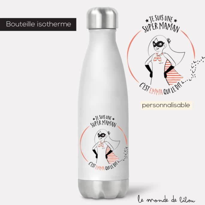 Bouteille isotherme Maman Super héros