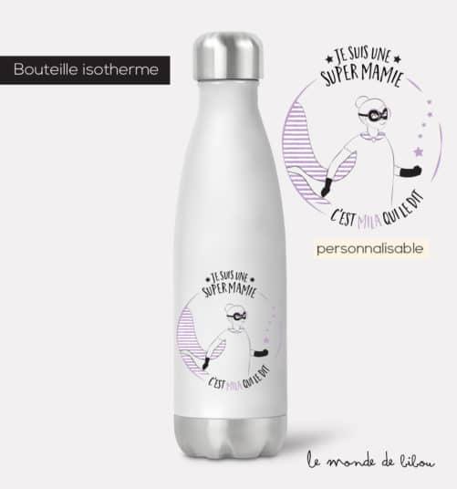 Bouteille isotherme Mamie Super héros