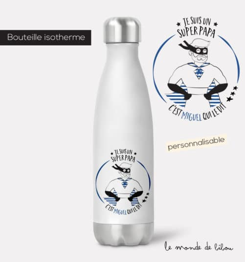 Bouteille isotherme Papa Super héros
