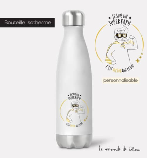 Bouteille isotherme Papy Super héros