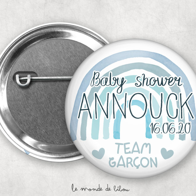 Badges Baby shower personnalisés Rainbow