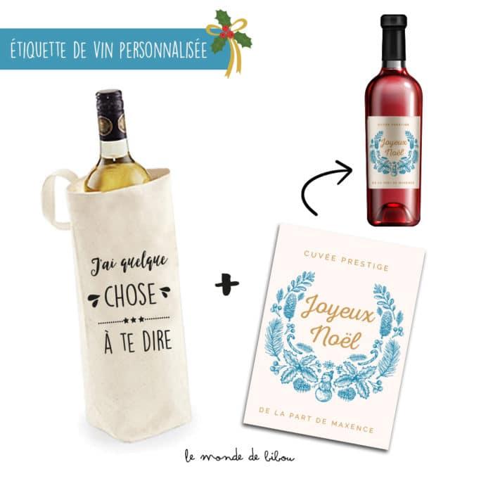 Sac à Bouteille et Étiquette Cadeau Noël
