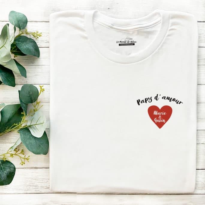 T-shirt Papy d'amour personnalisé
