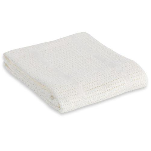 Couverture blanche en tricot