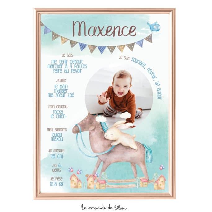 Affiche anniversaire Cheval à bascule bleu
