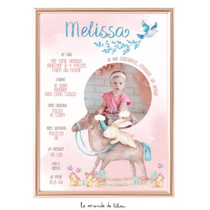 Affiche anniversaire Cheval à bascule rose