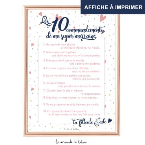Affiche Les 10 commandements marraine imprimable