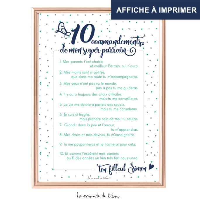 Affiche Les 10 commandements parrain imprimable