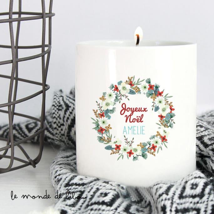Bougie de Noël Couronne de fleurs