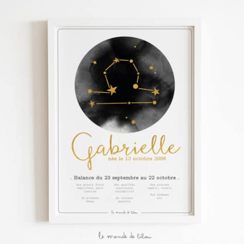 Affiche Prénom Zodiaque Balance