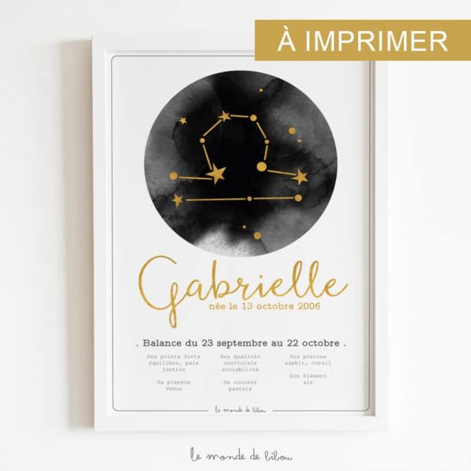 Affiche Prénom Zodiaque Balance imprimable
