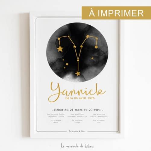 Affiche Prénom Zodiaque Bélier imprimable