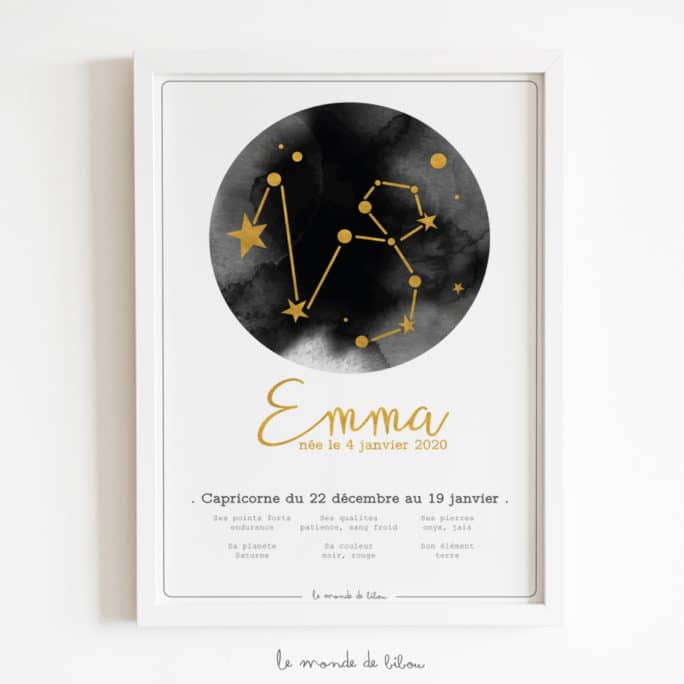 Affiche Prénom Zodiaque Capricorne
