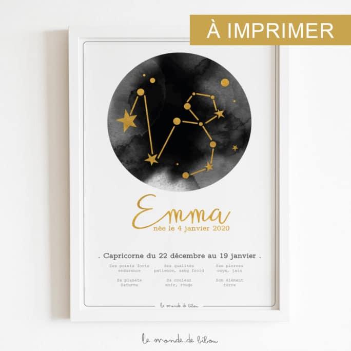 Affiche Prénom Zodiaque Capricorne imprimable