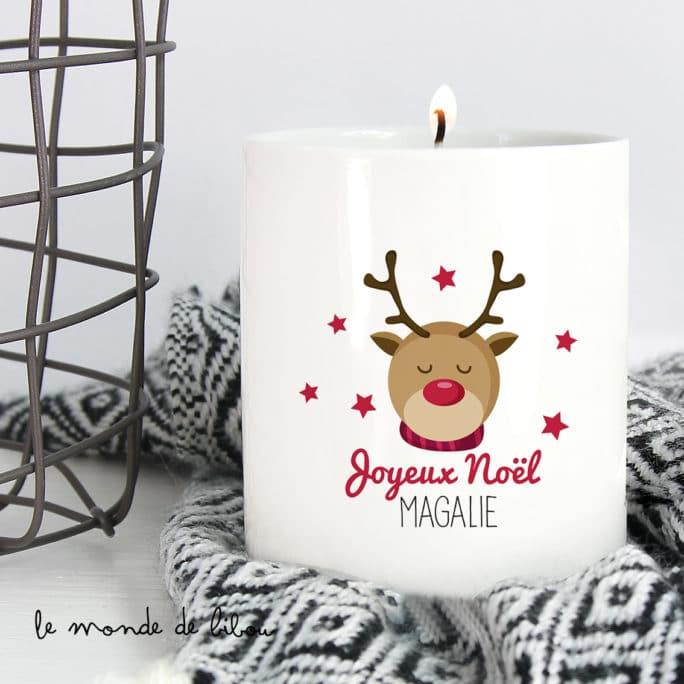 Bougie personnalisée Renne de Noël