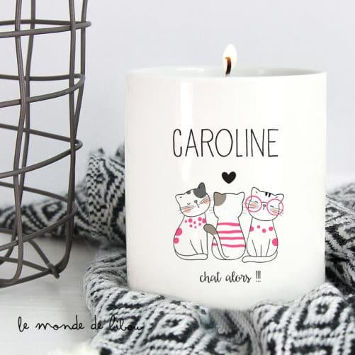 Bougie personnalisée Prénom chats