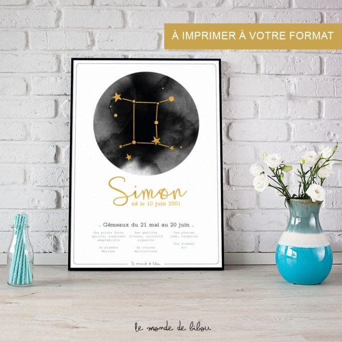 Affiche Prénom Zodiaque Gémeaux imprimable