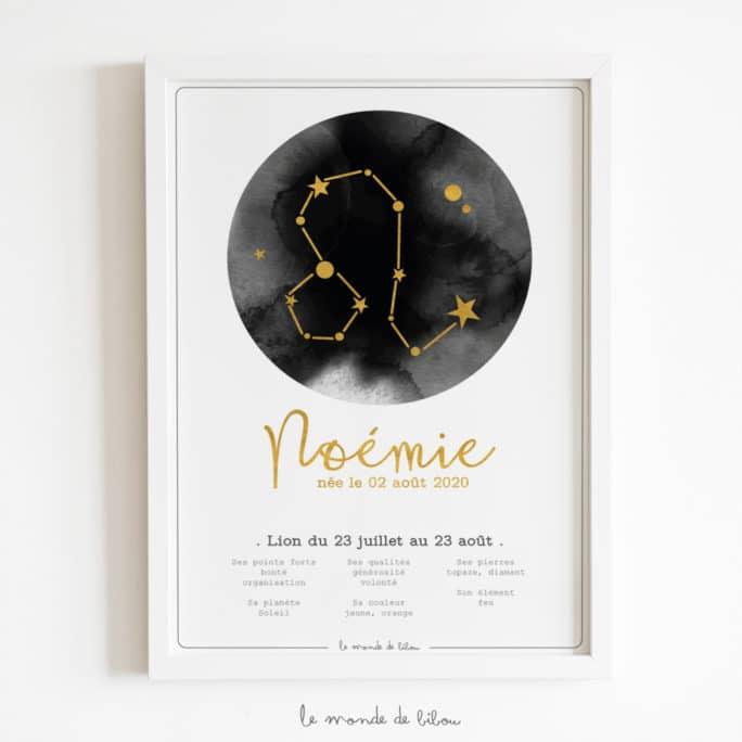 Affiche Prénom Zodiaque Lion