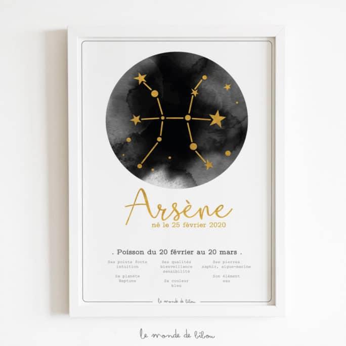 Affiche Prénom Zodiaque Poisson